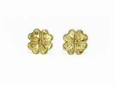 18k Yellow Gold Four-Leaf Clover Estate Earrings - Available online!