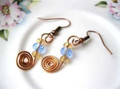 Copper spiral wire wrapped earrings with blue by LaylasTrinkets, $8.00