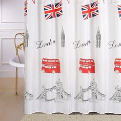 London national flag Waterproof Shower Curtains 72-inch by 72-inch