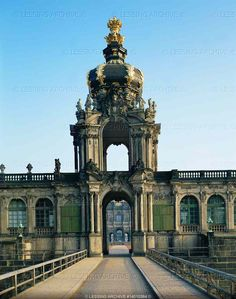 """ROCOCO ARCHITECTURE 18TH   Poeppelmann,Matthaeus Daniel  """"Zwinger"""", a very large court for tournaments and festivities, 107 x 116 m, surrounded by wings which house the art collections of the kings of Saxony. The """"Crown-Gate"""" with four golden eagles and the Polish crown on the cupola. 1711-1728   Zwinger Palace, Dresden, Germany"""