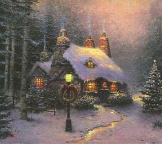 Vintage Christmas Images, Old Christmas, Christmas Scenes, Victorian Christmas, Christmas Pictures, Beautiful Christmas, Xmas, Thomas Kinkade Art, Thomas Kinkade Christmas