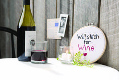 Say it with cross stitch! Will stitch for wine!