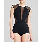 Carmen Marc Valvo City Slick High Neck One Piece Swimsuit