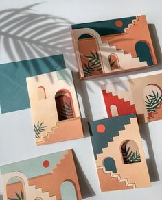 Staircases & Archways- Pop-Up Boxed Notes on Behance Easy Canvas Art, Simple Canvas Paintings, Small Canvas Art, Mini Canvas Art, Canvas Ideas, Diy Canvas, Canvas Wall Art, Aesthetic Painting, Aesthetic Art