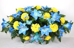 Beautiful XL Blue Lilies with Yellow Carnations Cemetery Tombstone Headstone Saddle by Crazyboutdeco on Etsy Yellow Carnations, Yellow Flowers, Silk Flowers, Spring Flowers, Grave Flowers, Cemetery Flowers, Funeral Flowers, Arrangements Funéraires, Yellow Flower Arrangements