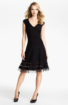 Tadashi Shoji V-Neck Tulle Trim Fit & Flare Dress available at #Nordstrom
