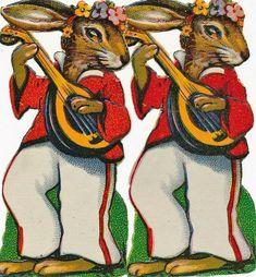 ORIGINAL Oblaten DIE CUT SCRAPS Ostern Easter 4 x Hase Gitarre Tigger, Disney Characters, Fictional Characters, Scrap, The Originals, Ebay, Animals, Guitar, Hare