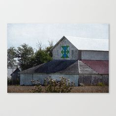 Rural Barn With A Quilt Stretched Canvas by Cassie Peters - $85.00
