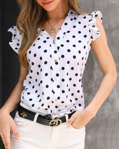 Dot Print Flutter Sleeve Casual Blouse Women's Best Online Shopping - Offering Huge Discounts on Dresses, Lingerie , Jumpsuits , Swimwear, Tops and More. Work Casual, Casual Tops, Trendy Clothes For Women, Blouses For Women, Womens Fashion Online, Pattern Fashion, Blouse Designs, Shirt Blouses, Fashion Outfits