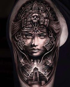 Scandinavian images in Mumia's tattoos – Artistic Bodies Aztec Warrior Tattoo, Warrior Tattoos, Viking Tattoos, Aztec Tattoo Designs, Tattoo Sleeve Designs, Bild Tattoos, Body Art Tattoos, Tatuagem Azteca, Aztec Tattoos Sleeve