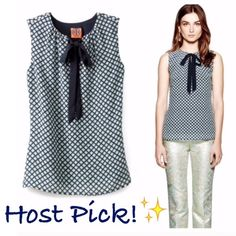 Tory Burch Tanya Silk Sleeveless Blouse Top Authentic Tory Burch Tanya blouse. Front keyhole with tie closure. Fully lined. Silk/Spandex mix. EUC. 25 inches in length. Size 6. *** No Trades*** Tory Burch Tops Blouses