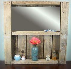 Rustic Pallet Bathroom Mirrored Shelf / Rustic Wine Rack / Bathroom Vanity Shelf / Liquor Cabinet