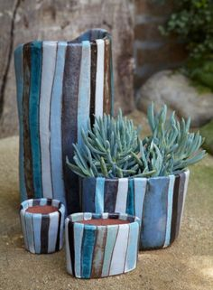 Beautiful ceramics from Esther Studios, courtesy of Flora Grubb Gardens reminds me of my exam pieces Ceramic Planters, Ceramic Clay, Ceramic Pottery, Pottery Art, Ceramic Flower Pots, Slab Pottery, Ceramic Bowls, Ceramics Projects, Clay Projects