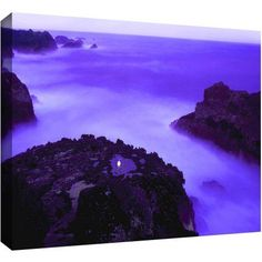 Dean Uhlinger Dawn And Moonlight Gallery-Wrapped Canvas, Size: 24 x 32, Blue