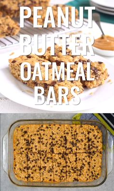 These peanut butter oatmeal bars are such an easy, healthy snack! Everyone loves these oatmeal breakfast bars, filled with peanut butter and chocolate goodness. Homemade Oatmeal Bars, Oatmeal Bars Healthy, Breakfast Bars Healthy, Oatmeal Breakfast Bars, Healthy Bars, Healthy Filling Snacks, Baked Oatmeal, Oatmeal Recipes, Protein Oatmeal