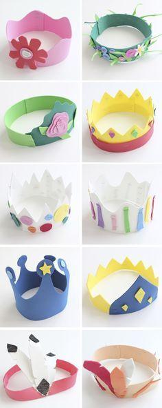 coronas de goma Eva para una fiesta infantil de princesas