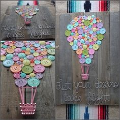 "Wood sign, home decor, buttons, string art, wire, shabby chic, nursery, baby shower gift, kids room, play room, bedroom, baby gift, unique ** This particular piece is my own original design. 24in x 24in - reclaimed wood adorned with various sized pastel buttons, string and nails for the basket, and wiring for the quote ""let you dreams take flight."" This is not a replication of anything found online unless you find someone copying Nailed It! Custom Crafts design."