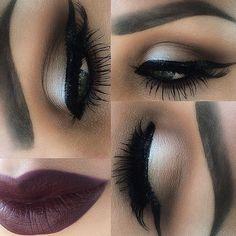 neutral eyes and burgundy lips