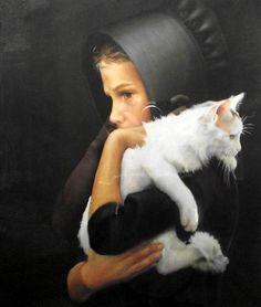 Nancy Noel Amish girl with white cat Crazy Cat Lady, Crazy Cats, Beautiful Paintings, I Love Cats, Cat Art, Cats And Kittens, Art Gallery, Illustration Art, Photos