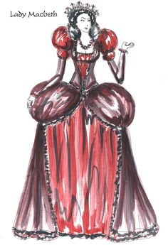 Lady Macbeth's first costume. She wears lighter colors in the beginning before her true evil character is revealed. As the play progresses, her costumes become darker.