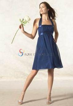 Bleue bretelle au cou courte mousseline de soie robe demoiselle d'honneur