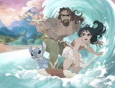 Disney x DC. Stitch and Moana surf with Aquaman Disney Animation, Disney Pixar, Film Disney, Disney Memes, Disney Fan Art, Disney And Dreamworks, Disney Cartoons, Merida Disney, Punk Disney