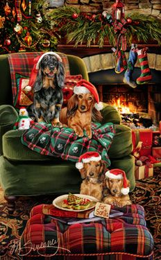 """New for 2014!  Longhaired dachshund Christmas Holiday cards are 8 1/2"""" x 5 1/2"""" and come in packages of 12 cards. One design per package. All designs include envelopes, your personal message, and choice of greeting.Select the inside greeting of your choice from the menu below.Add your custom personal message to the Comments box during checkout."""