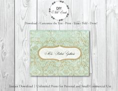 Italian Paper  Diy Printable Monogram Note Card  You Add Text