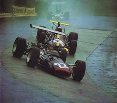 "Piers Raymond Courage (GBR) (Reg Parnell Racing), BRM P126 - BRM 3.0 V12 (finished 8th)John Arthur ""Jack"" Brabham (AUS) (Brabham Racing Organisation), Brabham BT26 - Repco 740 3.0 V8 (finished 5th)1968 German Grand Prix, Nürburgring Nordschleife"
