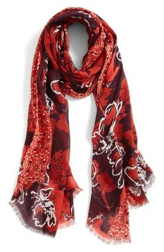 Halogen® Floral Print Cotton & Wool Scarf available at #Nordstrom