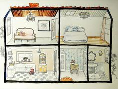 Did a drawing of a doll house with my favourite furniture from Shabby Chic :)