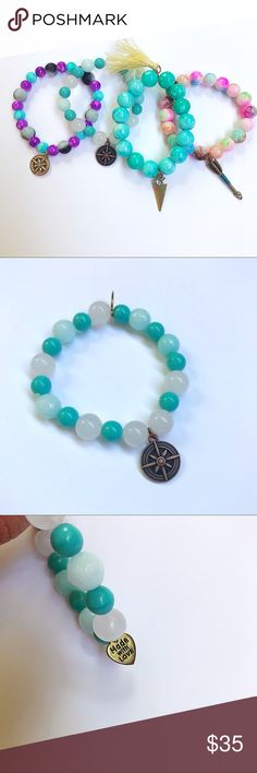 HandMade Turquoise compass stretch bracelet🔮 Handmade gemstone moonstone staking bracelet🔮 Perfect must have accessory for your gypsy boho style🔮 Everything is handmade so everyone is different🔮 Pictures are taken by me and is the exact bracelet you will be getting 🔮 Size is made for smaller wrists🔮 This listing is for the turquoise and iridescent bracelet only🔮  TO GET FULL WEAR OF YOUR BRACELET  DO NOT WEAR IN WATER DO NOT OVER STRETCH DIVIINE GEMS Jewelry Bracelets