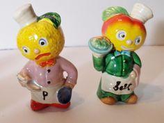 Vintage Japan Anthropomorphic Lemon and Apple Head Salt & Pepper Shakers