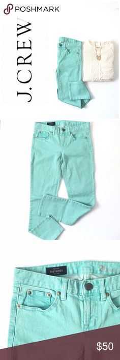 🆕 Listing! J. Crew toothpick skinnies Awesome faded teal look (a little more sea green than pictured) and skinny fit! Perfect to wear with boots and a cozy sweater! Adds that extra pop of color to your outfit! Inseam is 26 1/2in. waist is 14 1/2in. Cotton/spandex blend. J. Crew Jeans Skinny