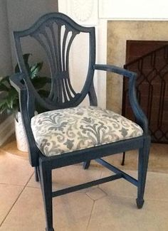 SHIELD BACK ARMCHAIR, Accent Chair, Chalk Paint, Refurbished, Refinished