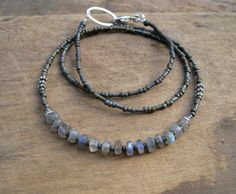 Simple Labradorite Necklace with blue flash labradorite and silver, delicate earthy gray necklace, perfect for layering