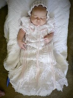 heirloom christening dress crochet pattern | Crocheted Blessing Dresses