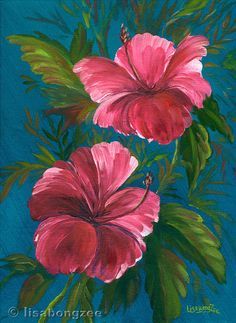 PINK HIBISCUS Original Oil Painting 12x9 Art Artwork Tropical Flower Floral Hawaii Hawaiian Botanical Tropics Foliage Lisabongzee via Etsy