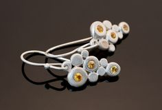 Silver earrings with 6 yellow sapphires by GothamAtelier on Etsy
