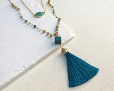 Turquoise & Opal Teal Tassel Multi Strand Necklace by ALLOYDstudio