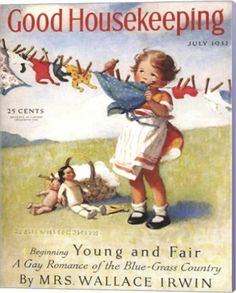July 1932 Good Housekeeping Cover - art by Jessie Willcox Smith. Vintage Advertisements, Vintage Ads, Vintage Prints, Retro Advertising, Vintage Ephemera, Vintage Stuff, Vintage Images, Old Magazines, Vintage Magazines
