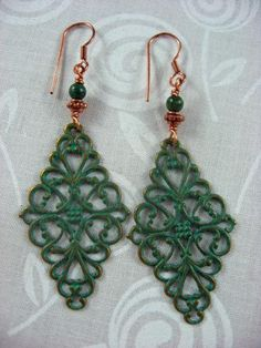 Brass Patina Copper and African Jade Earrings