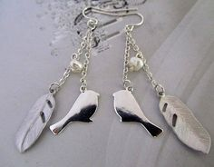 leaf and silhouette bird with freshwater pearl two by lemonsugar, $14.99
