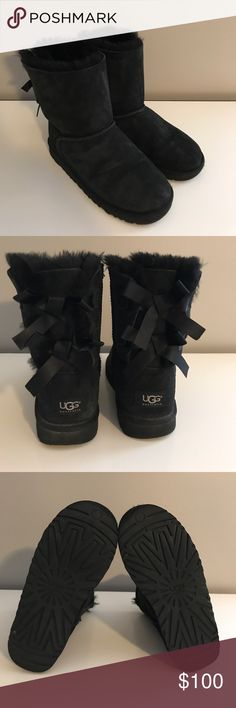UGG Black Boots with bows UGG Black Bailey Bow; Kids size 5 (I wear a women's 7 and they fit perfectly); lightly worn; good condition UGG Shoes Winter & Rain Boots