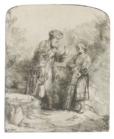 REMBRANDT HARMENSZ. VAN RIJN 1606 - 1669 ABRAHAM AND ISAAC (B., HOLL. 34; NEW HOLL. 224; H. 214) Etching, 1645, the only state, New Hollstein's first state (of two)  plate: 157 by 130mm 6 1/4 by 5 1/8 in sheet: 220 by 167mm 8 5/8 by 6 5/8 in