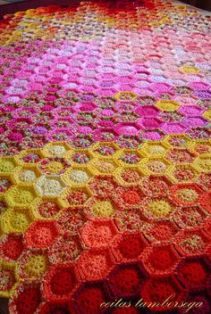 small hexagon scrap blanket.  love colors and the randomness.