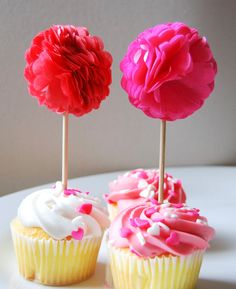 Cupcake Toppers, Tissue Paper Pom Poms - Valentines Day, Wedding, Birthday Party, Bridal/Baby Shower, Set of 12 on Etsy, $16.75