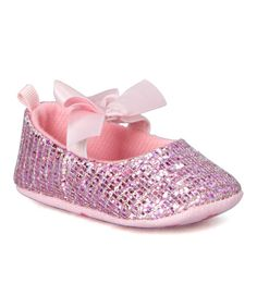 Look at this Laura Ashley Pink Glitter Bow-Tie Mary Jane on #zulily today!