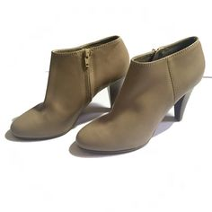 ⚡️️STEAL! J.Crew Beige Heeled Booties Beige JCrew ankle-boots. Excellent condition- tried on several ties but never worn out of the house. Small white mark, not visible when worn. J. Crew Shoes Ankle Boots & Booties
