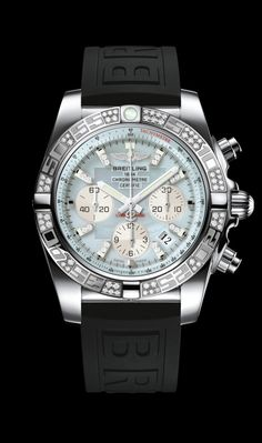 Chronomat 44 diamond diver's watch by Breitling - Steel case, gray pearl diamond dial with black Diver Pro III strap.